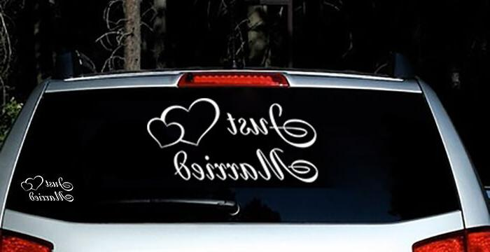 Just Married Vinyl Car Decal Sticker Custom Personalized Wed