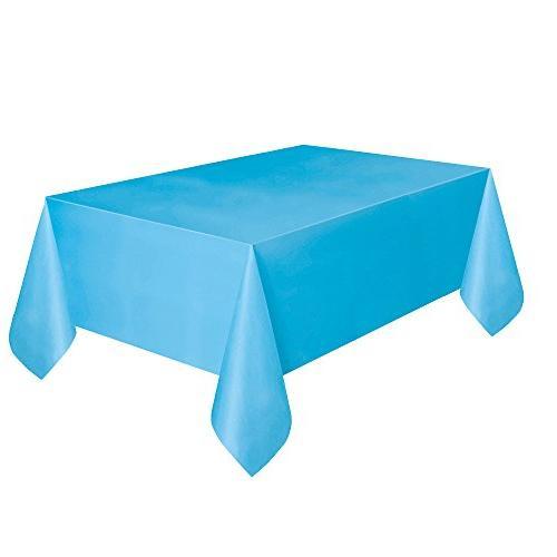 light blue plastic tablecloth