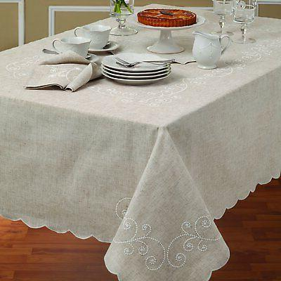 Linen Table Cloth Rectangular Fitted Banquet Wedding Tablecl