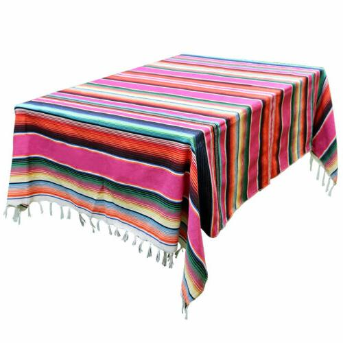 Mexican Blanket Tablecloth Cotton Serape Fabric Table Cover