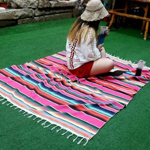 mexican tablecloth blanket cotton serape fabric table