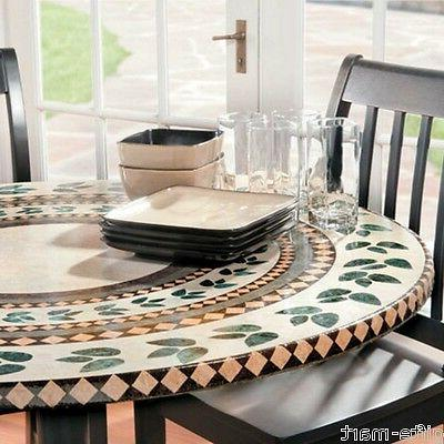 "mosaic tile Elastic fitted vinyl outdoor 48"" round patio tab"