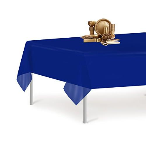 Navy Blue Premium Disposable Plastic 54 Inch. x 108 Inch. Rectangle Table Cover By