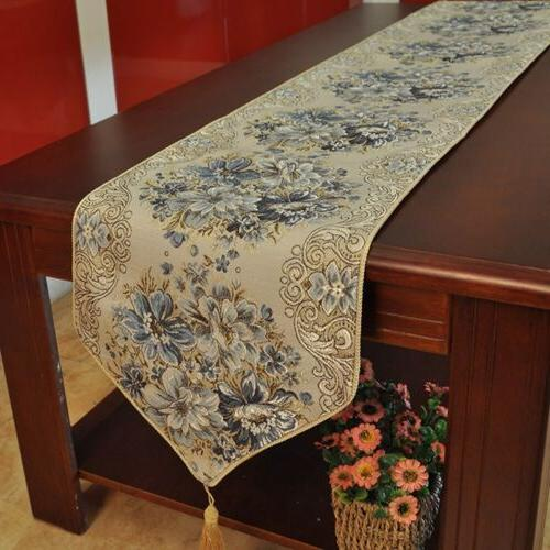 New Table Runner Embroidered Home Dining Tea Cover Fringed Mat Decor