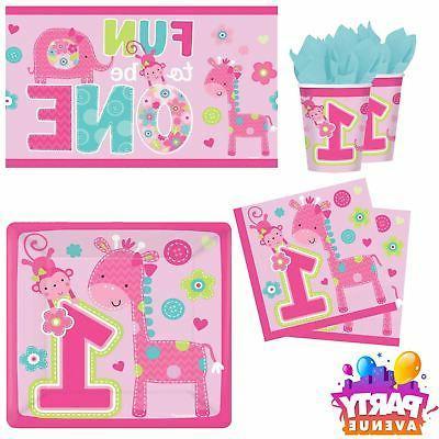 One Wild Girl 1st 1 Birthday Baby Party Tableware Cups Napki