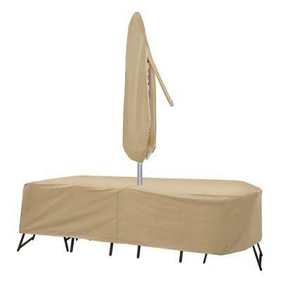 oval rectangular table cover with umbrella hole