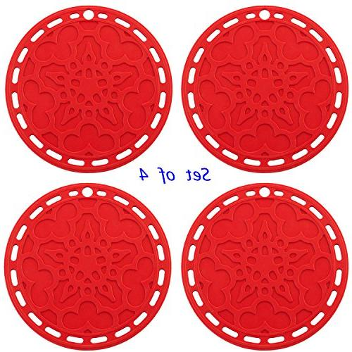Silicone 6 Kitchen Tool, Pot Splatter Guard, Jar Trivet, Red, 121