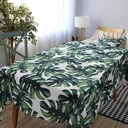 ColorBird Palm Leaf Waterproof Cotton for Dinning Tabletop Linen Decoration