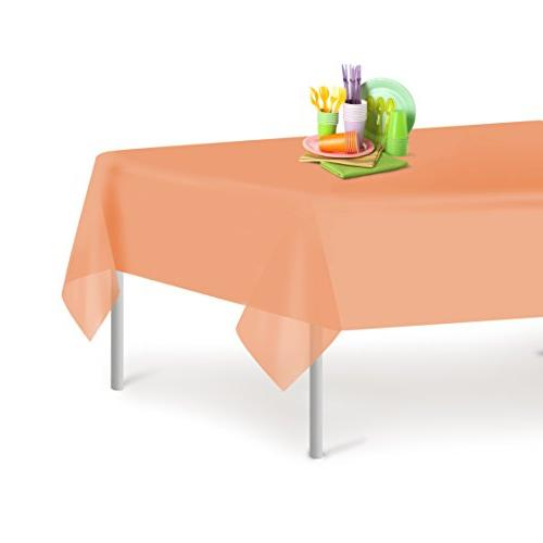 peach disposable plastic tablecloth rectangle