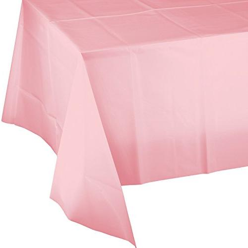 pink plastic banquet table covers