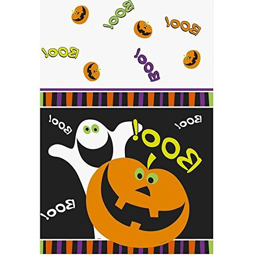 plastic pumpkin boo halloween table