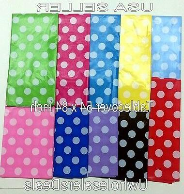 Polka Dot Plastic table Cover Rectangular 54 x 84 Inch Table