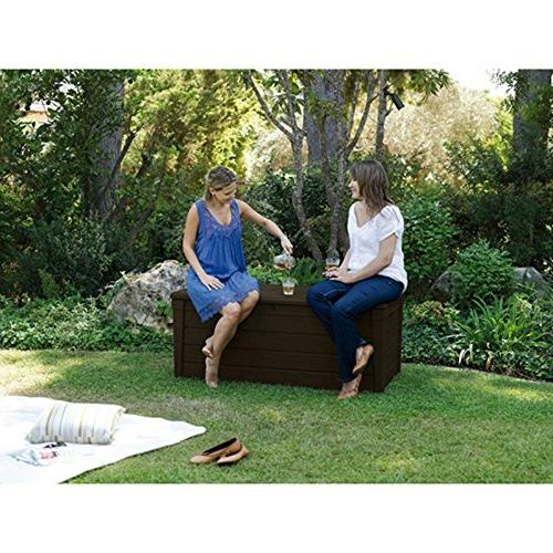 Pool Deck Box and in 1 Multifunctional Seat Resin UV 120-Gallon and Container Covers