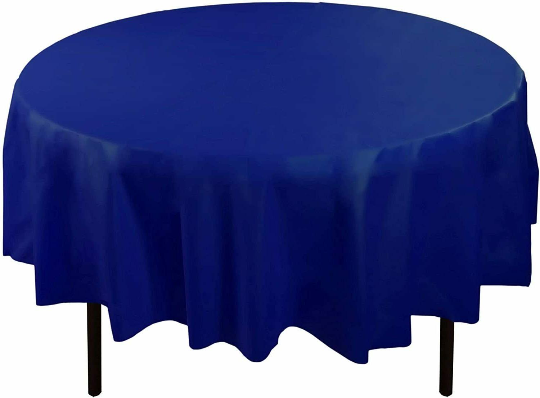 premium quality plastic tablecover 84 round navy