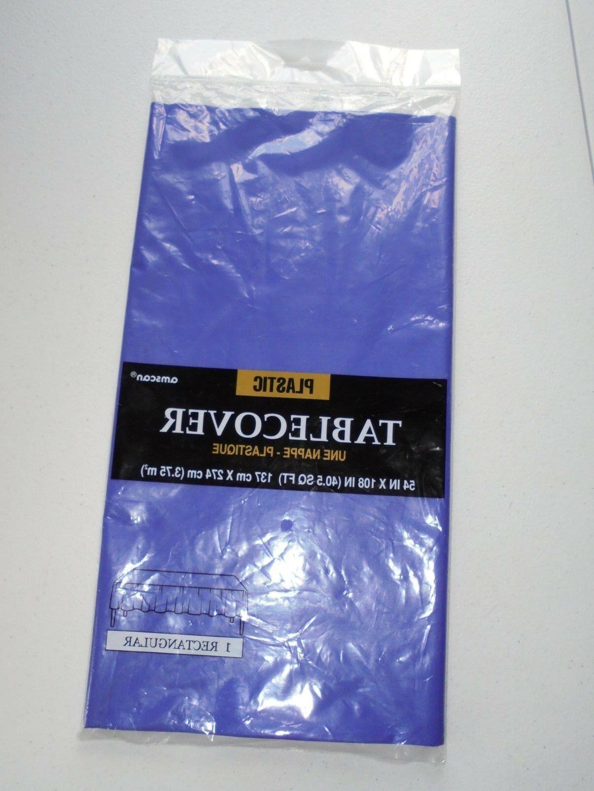 purple plastic table cover 54 x 108