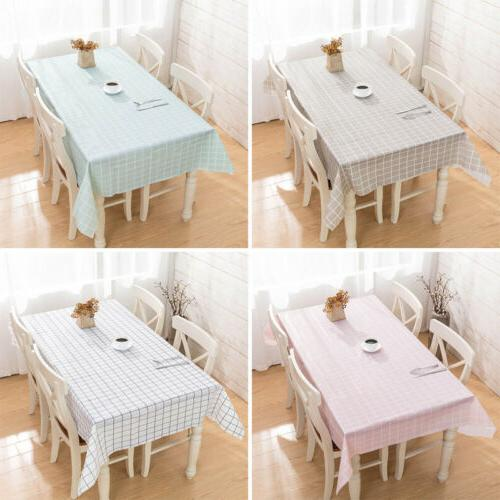 Waterproof Oil Proof Brief Plaid PVC Tablecloth Home Kitchen