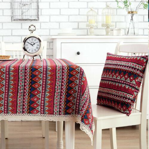 Rectangle Bohemian Printed Linen Table