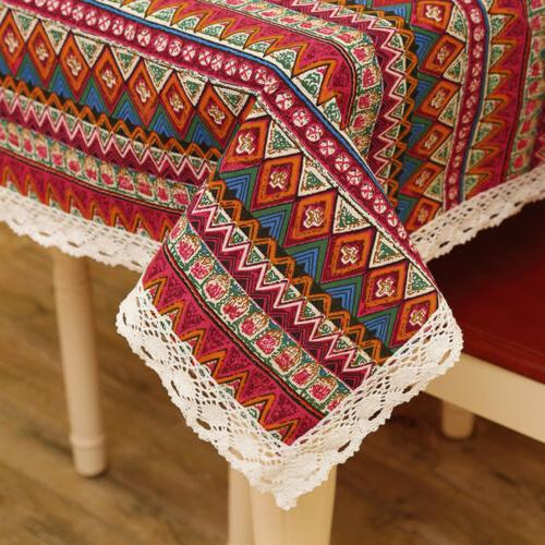 Bohemian Dining Tablecloth Cotton Stripe Table Linen Home Party