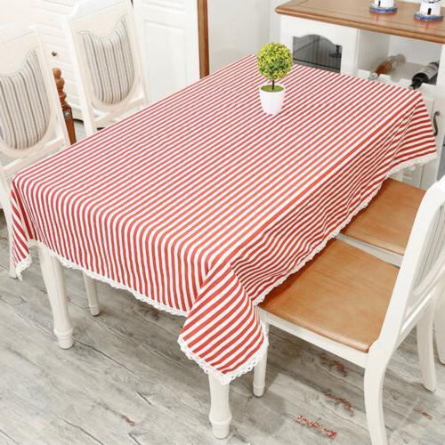 Bohemian Tablecloth Soft Cotton Stripe Linen Home