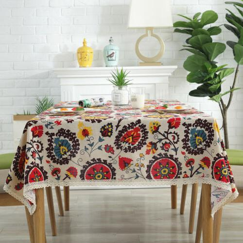 Rectangle Printed Linen Dining Table Cover
