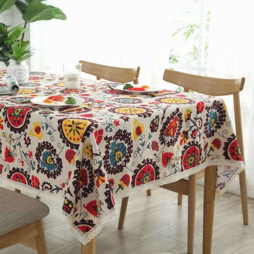 Rectangle Printed Linen Dining Table