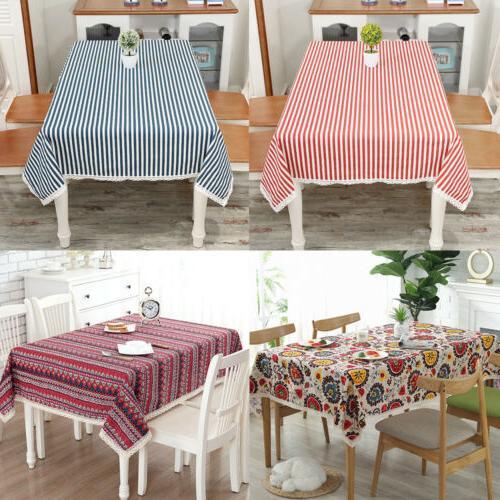 Bohemian Dining Tablecloth Cotton Stripe Linen Party