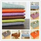 Rectangle Cotton Linen Solid Plain Tablecloth Table Cover Cl
