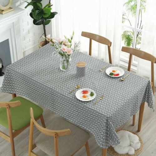Rectangle Linen Tablecloth Kitchen Dining Table Cover Cloth