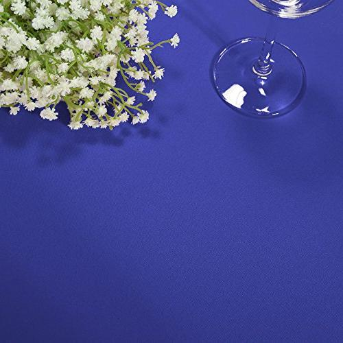 VEEYOO 8 Feet Polyester Fitted Tablecloth for Party Banquet, Blue