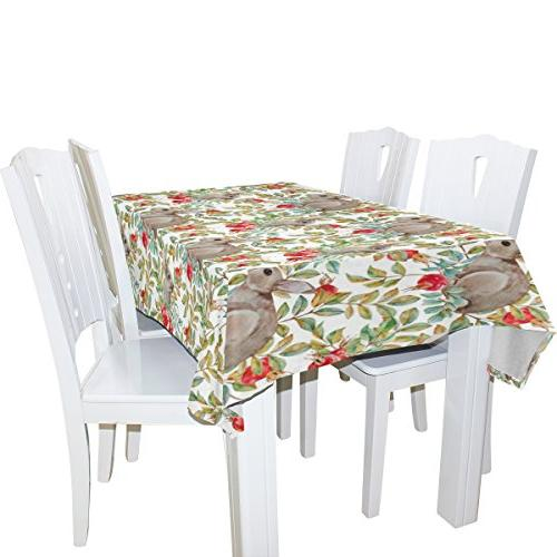 ALIREA Rectangle Rabbits for Wedding Holidays Washable Cover, x 90 Inch