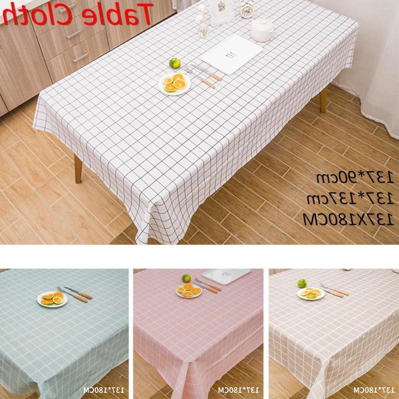 Rectangle Table Cover Plaid Tablecloth Waterproof Home Kitch