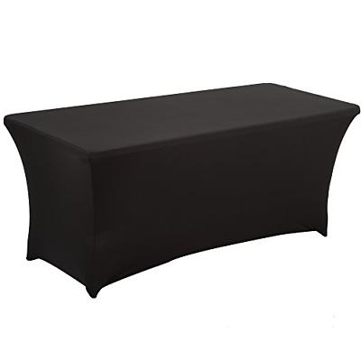 Haorui Rectangular Spandex Table Cover 6 ft. Black
