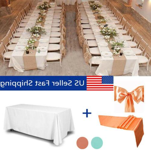 Table Cover with Table Runner&Chair Sashes Party Wedding Tab