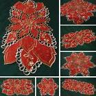 Red Star Christmas Table runner Doily Tablecloth with Openwo