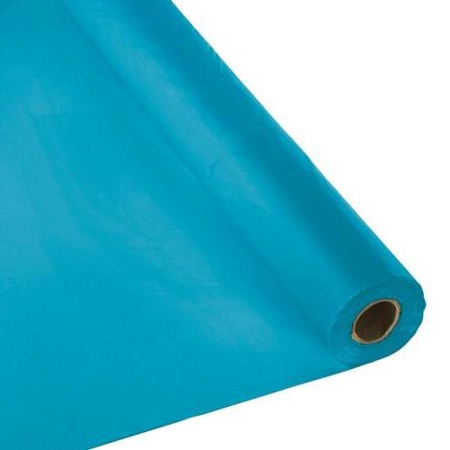 roll plastic table cover 100 feet turquoise