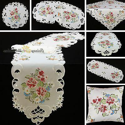 Rose Table Cloth Topper Runner Doily Cushion Cover White Pin