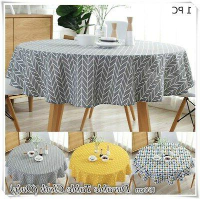 Round Cotton Linen Tablecloth Table Cover Cloth Home Holiday