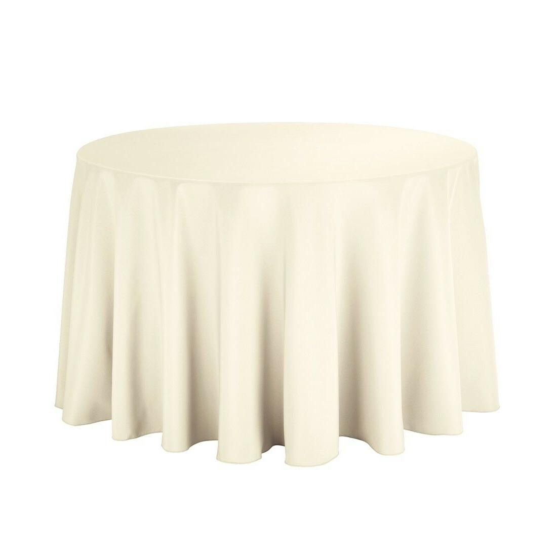 Round Ivory Polyester Table Cloth Table Cover for Party Wedd