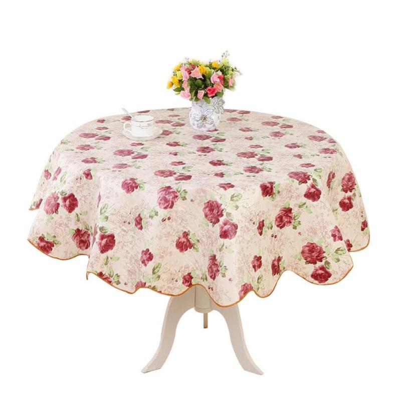 Round PVC Tablecloth Kitchen Dining Table Cloth Cover Protect
