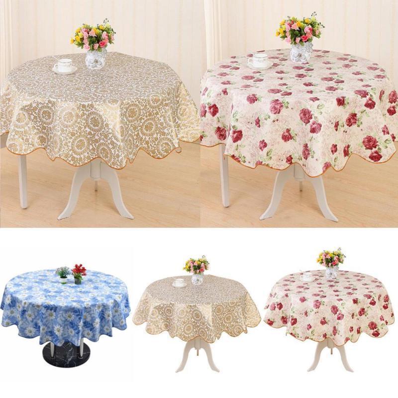 round pvc tablecloth kitchen dining oilcloth vinyl