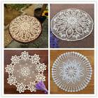 Round Table Cloth Cover Vintage Hand Crochet Cotton Lace Tab