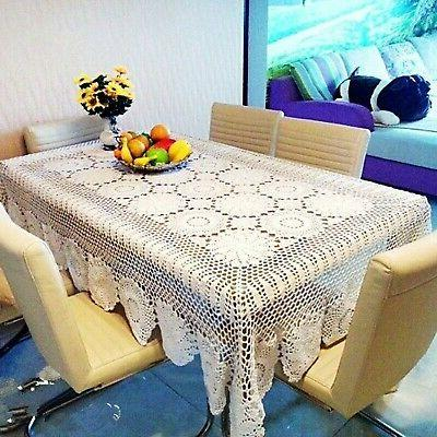 Ustide Rustic Table Cover Beige Crochet Tablecloths Rectangul...