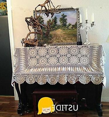 Ustide Rustic Cover Beige Crochet Tablecloths