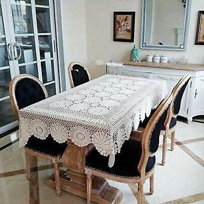 rustic floral table cover beige hand crochet