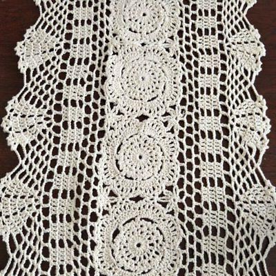 Ustide Rustic Floral Runners Oval Crochet Table Cover Beige