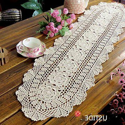 rustic floral table runners oval handmade crochet