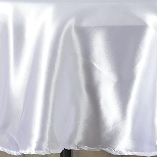 BalsaCircle 90-Inch White Satin Tablecloth Table Cover Linens Wedding Catering Kitchen Dining