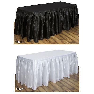 satin table skirt party event table covers
