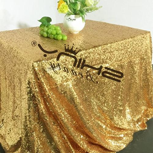 ShinyBeauty Sequin-Rectangle-Tablecloth-90x132-Inch-Gold Table Cloth