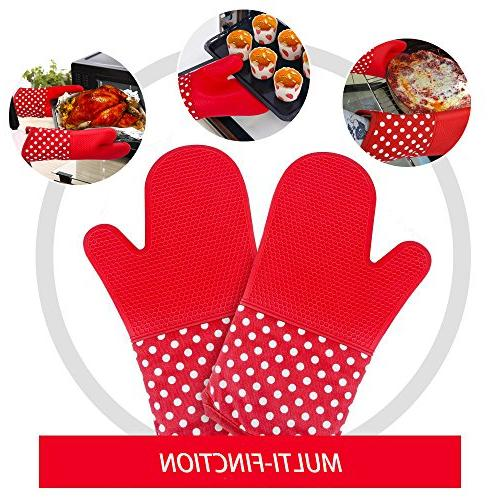 Silicone Oven Mitt Grill, 1 Long Heat Hot Resistant Potholder Glove, Dishwasher Oven, Professional Duty Cooking Mitten